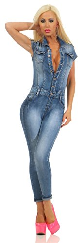10947 Fashion4Young Damen Jeans Overall Hosenanzug Einteiler Kurzarm Jumpsuit Denim Knöpfe (blau, XL-42)
