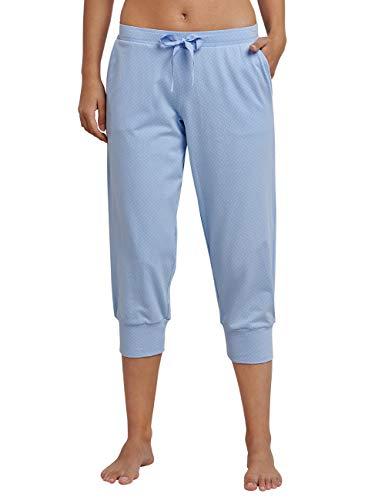 Schiesser Damen Mix & Relax Jerseyhose 3/4 lang' Schlafanzughose, Blau (Air 802), 38 (Herstellergröße: 038)
