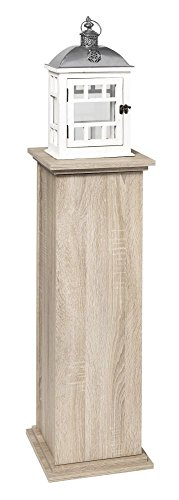 Style Schrank Eiche (Dekosäule 'Style II' Eiche mit Innenraum Schrank Dekoschrank Schränkchen 30 x 89 x 30 cm Wohnzimmer, Esszimmer, Diele, Flur)