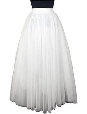Falda A Media Pierna Tul Mujer Cintura Elástica Plisada Básica Para Fiesta Danza Blanco 75CM