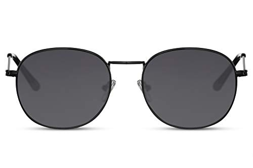 Cheapass Sunglasses Sonnenbrillen klein oval schwarz Rahmen mit dunklen Gläsern UV400 geschützt Männer Frauen