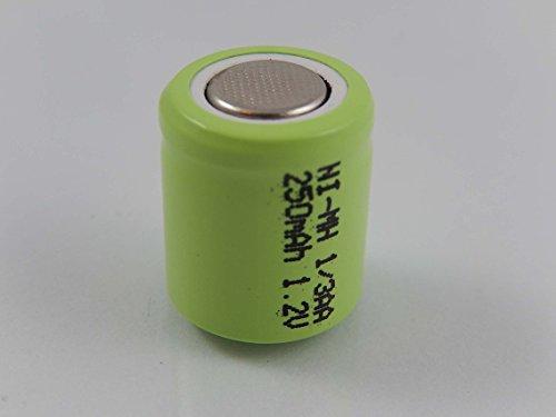 vhbw 1/3AA NI-MH Akku-Zelle 250mAh (1.2V) Flattop für Modellbau, Solarleuchten, Telefon, etc.