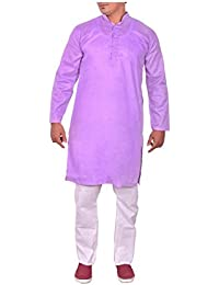 Arzaan Creation's Mens Khadi Cotton Blend Regular Fit Purple Kurta With White Cotton Payjama