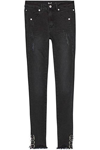 FIND Damen Skinny-Jeans mit Ösen-Saum Schwarz