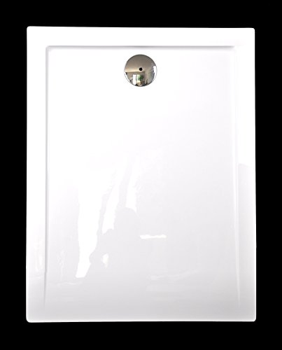 Art-of-Baan® Duschtasse Duschwanne aus Acryl Hochglanz weiß Rechteckig 100 x 80 x 3,5 cm inkl. Ablaufgarnitur