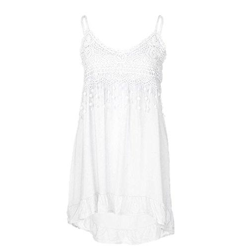 iYmitz DamenMode ärmellose Sommer Quasten BaumwolleMode Tops Shirt Bluse Oberteile Tee(Weiß,EU-46/CN-4XL)