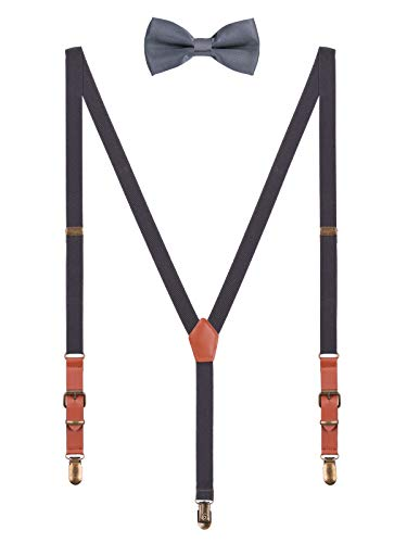 2cm Hosenträger Fliege Sets | Retro PU Leder 3 Messingartige Clips Y Form Hosenträger Elastisch Verstellbar für Körpergröße 140-190cm - Dunkelgrau