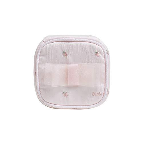 FIONAT Schmuckkästchen Aufbewahrungstasche Tragbare Erdbeere Stickerei Damen Einfache Ring Ohrringe Schmuckschatulle 9 * 9 * 6Cm, Hellrosa Erdbeere -