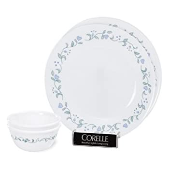 Corelle Country Cottage Bachelor Glass Dinner Set, 4-Pieces, Green
