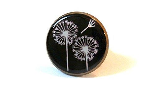 Löwenzahn Ring, Blume, schwarz und weiß, Foto Ring, Bild, Glas Cabochon Ring, verstellbar,