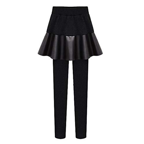 Wtouhe Femmes Chaud Faux Deux Pièces Leggings Pantalon Tissu en Polyester De Haute Qualité, LéGer, AgréAble pour La Peau, Confortable Et ImperméAble Moins De 20 Euros