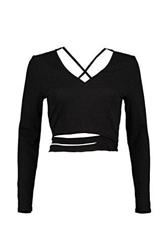 Noir Femmes Rebecca Top Court Côtelé Noué À La Taille Bretelles Croisées Noir