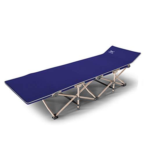 Lit pliant Siesta lit simple lit chaise de bureau camping lit portable portable et léger, support renforcé, silencieux (Couleur : Bleu)