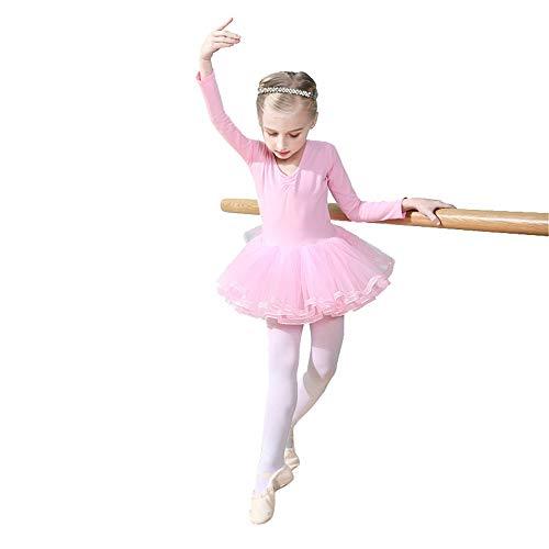 Jxth-Gidr Kinder Tanzkleid Röcke Mädchen Trikots Tanz Zurück Bowknot Klassische Langarm Rocket Ballett Tutu Kleid Prinzessin Ballerina Dancewear Performance Kostüme Performance Ballsaal Latin Kostüm