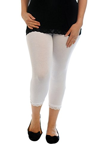 Nouvelle Collection Cropped Lace Trim Leggings White 20-22 Trim Cropped Pants