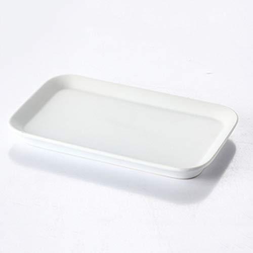 LI plaque- Assiette en céramique rectangulaire arrondie européenne - Assiette à dessert Cake au pain pour le petit déjeuner à la maison (1 paquet) tableware (Couleur : Blanc)