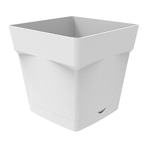 EDA Plastiques Pot TOSCANE carré avec Soucoupe clipsée 13641 BL SX6 Blanc 17,4 x 17,4 x 17 cm