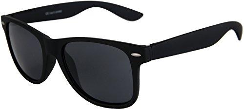 Blues Sonnenbrille (Hochwertige Nerd Sonnenbrille Rubber im Wayfarer Stil Retro Vintage Unisex Brille mit Federscharnier - 96 verschiedene Farben/Modelle wählbar (Schwarz -)