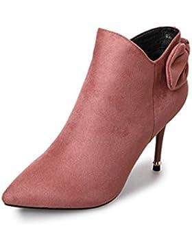 KPHY-Pajarita dulce señaló botas de invierno de satén rosado nuevo lateral con cremallera High-Heeled botas botas...