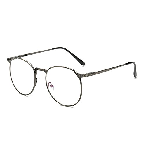 Delaying Retro Runde große Frame Brille Metallrahmen feine Grenze Brillenmode Anti-blaue Brille (Brille Grenze)