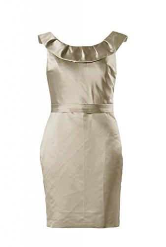 daisyformals encolure courte robe de demoiselle d'honneur en satin vintage robe de soirée (bm253) Beige - #50-Champagne