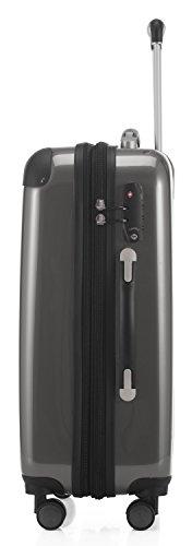HAUPTSTADTKOFFER - Alex - Handgepäck Hartschalen-Trolley Bordgepäck Kabinentrolley Erweiterbar, Laptop, TSA, Doppelrollen, 55 cm, 42 Liter, Titan - 6
