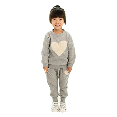 Culater® Kids Clothes lungo Cuore manica Stampa tuta + Harem Outfits Set (130, (3 Pezzi Bambino Outfit)