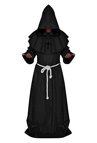 Herren Mönch Kostüm, Robe mit Kapuze und Gürtel Schwarz S