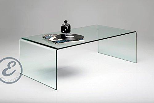 Tavolino Basso da Salotto Rettangolare in Vetro Temperato e Curvato ...