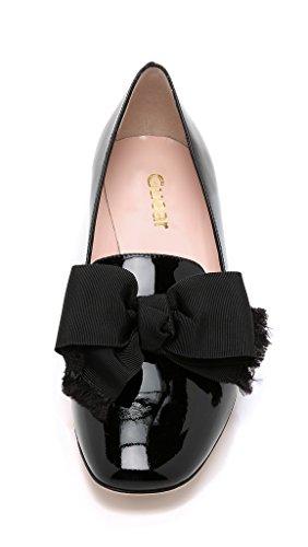 Guoar Damen Flache Große Größe Spitzschuh Rutsch Lack Bowknot Ballerinas Schwarz