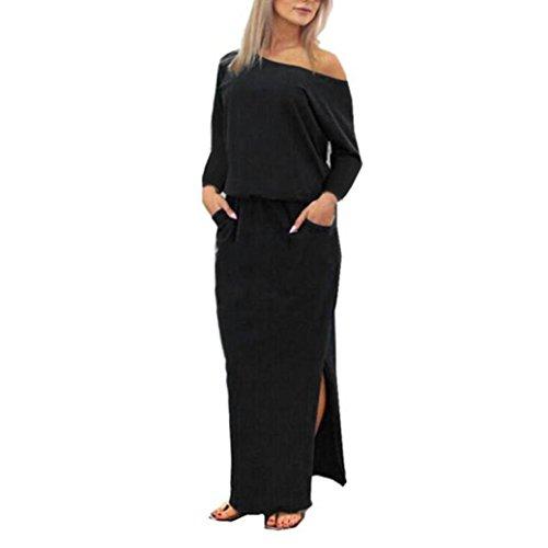 Kleider Damen Sommer Elegant Knielang Festlich Hochzeit Rockabilly Langes Maxi Abendkleid mit Tasche (Navy, M)