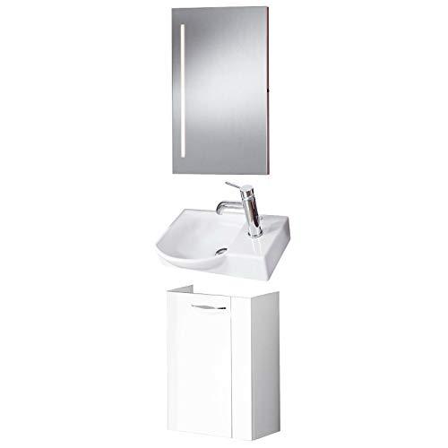 FACKELMANN Badmöbel Set Sceno Gäste WC 3-TLG. 45 cm weiß mit Gäste-Waschtisch Unterschrank & Waschbecken & Spiegelelement
