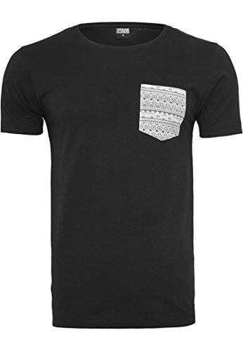 URBAN CLASSICS - Contrast Pocket Tee (black-aztec), Gr. L (Tee Zip Sleeve)