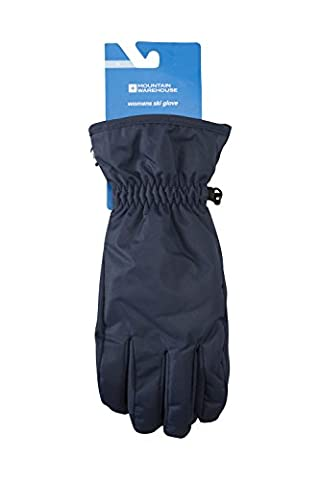 Mountain Warehouse Women's Ski Gloves - Snow Proof, Textured Palm with Adjustable Cuffs & Fleece Lined - Insulated & Fleece Lined for Extra Warmth Navy Medium