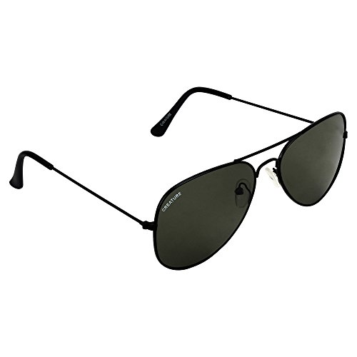 Creature Basic Black Aviator Uv-Protected Unisex Sunglasses(Lens-Green||Frame-Black||SUN-052)