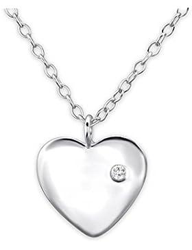 Bungsa© Herz ECHTSILBER Halskette mit Kristall .925 Sterling Silver 45cm (Silberkette Damenkette Necklace Frauen...