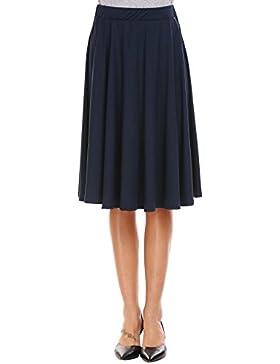 Zeagoo Faldas Plisada Corta Mujer Elástica Básica Sólidas Negro Midi Faldas Verano Fashion