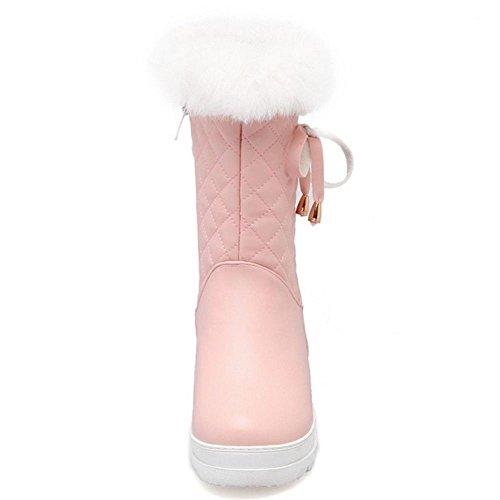 pink Synthetique Femmes Eclair COOLCEPT Fourrure Fermeture Bottes qBY0UBnp7