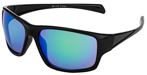 La Optica B.L.M. Sonnenbrille UV400 CAT 3 Unisex Damen Herren Leicht Sport Laufen - Einzelpack Glänzend Schwarz (Gläser: Grün verspiegelt)
