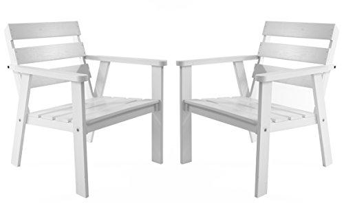 Ambientehome Gartensessel Loungesessel Sessel Gartenstuhl Massivholz HANKO, Weiß, 2-teiliges Set