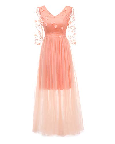 Bright Deer Damen Maxi-Abendkleid Besticktes Tüll-Ballkleid mit Blumenapplikation Langes Brautjungfernkleid mit Transparente Ärmel 44 XL Orange