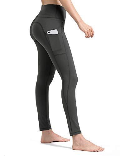 ALONG FIT Graue Leggings Damen mit Taschen, Nicht durchsichtig Sporthose Damen Yogahosen für Damen