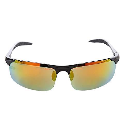 xinzhi Fahrrad-Sonnenbrillen, Herren-Sonnenbrillen polarisierte Sonnenbrillen Brille Imitation Aluminium Magnesium Brille - Schwarzer Rahmen Roter Film