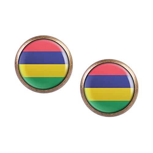 Mylery Ohrstecker Paar mit Motiv Mauritius Port Louis Flagge bronze 12mm -