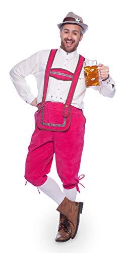 Folat 63387 Pink Lederhose Latzhose Oktoberfest Hose Herren Kostüm - Lederhose Oktoberfest Kostüm