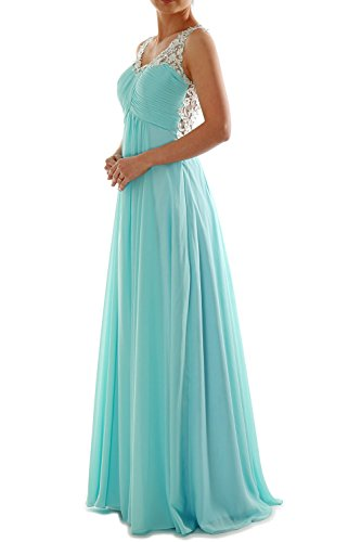 MACloth Women Straps V Neck Chiffon Lace Long Prom Dress Formal EveningBall Gown Weiß