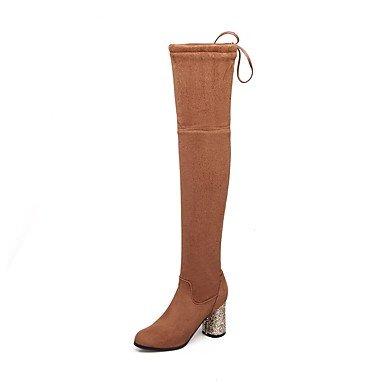 Rtry Femmes Chaussures Polaire Automne Hiver Mode Fluff Doublure Bottes Chunky Talon Bout Rond Bottes Cuisse-haute Bottes Bowknot Pour La Fête De Mariage Et Us9 / Eu40 / Uk7 / Cn41