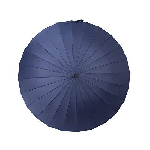YA-Uzeun Paraguas grande de color sólido con apertura y cierre manual, paraguas largo con 24 varillas, duradero y lo suficientemente fuerte azul marino