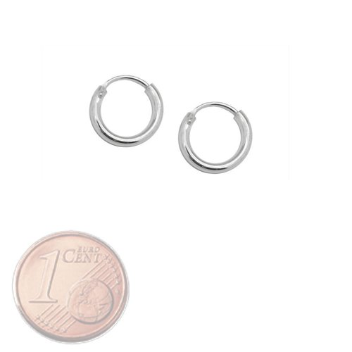 SoulCats® Creolen Creole 925 echt sterling Silber Ohrringe silbern 8 12 16 20 25 mm, Größe:10 mm