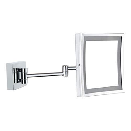 Miroirs De Vanité De Salle De Bains Lumière LED Grossissant Simple Face Télescopique Pliant pour Hôtel Mural Carré Cadeau De Fille (Color : Silver, Size : 21x16cm)
